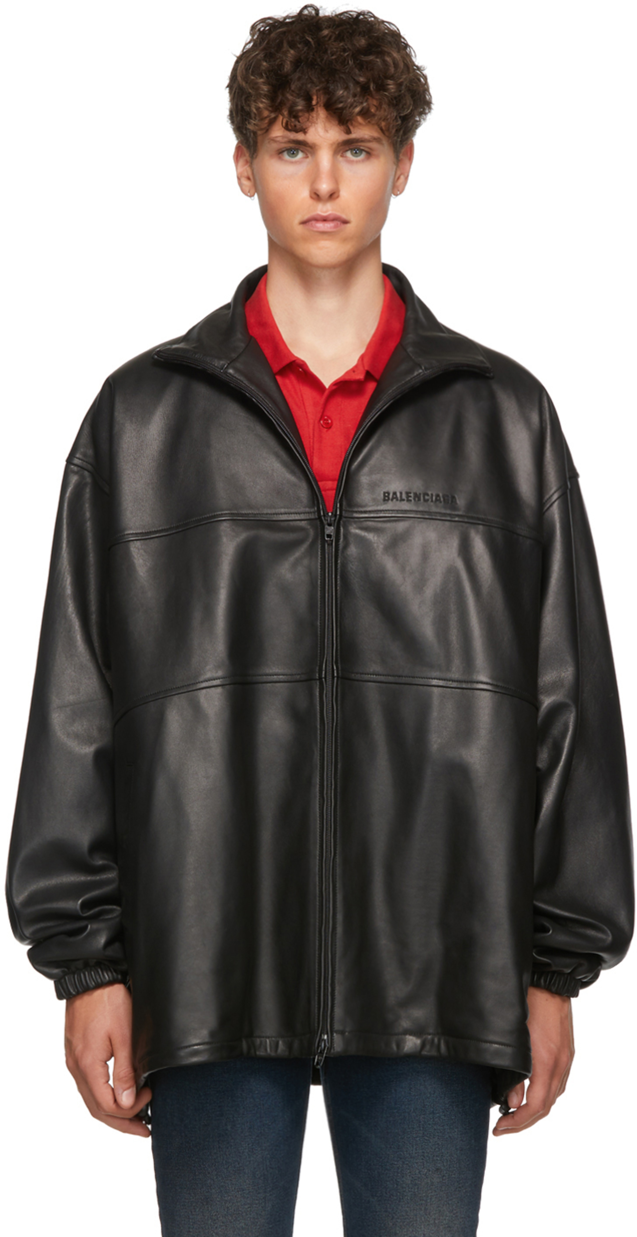 62babc280e79d Black Leather Zip-Up Track Jacket