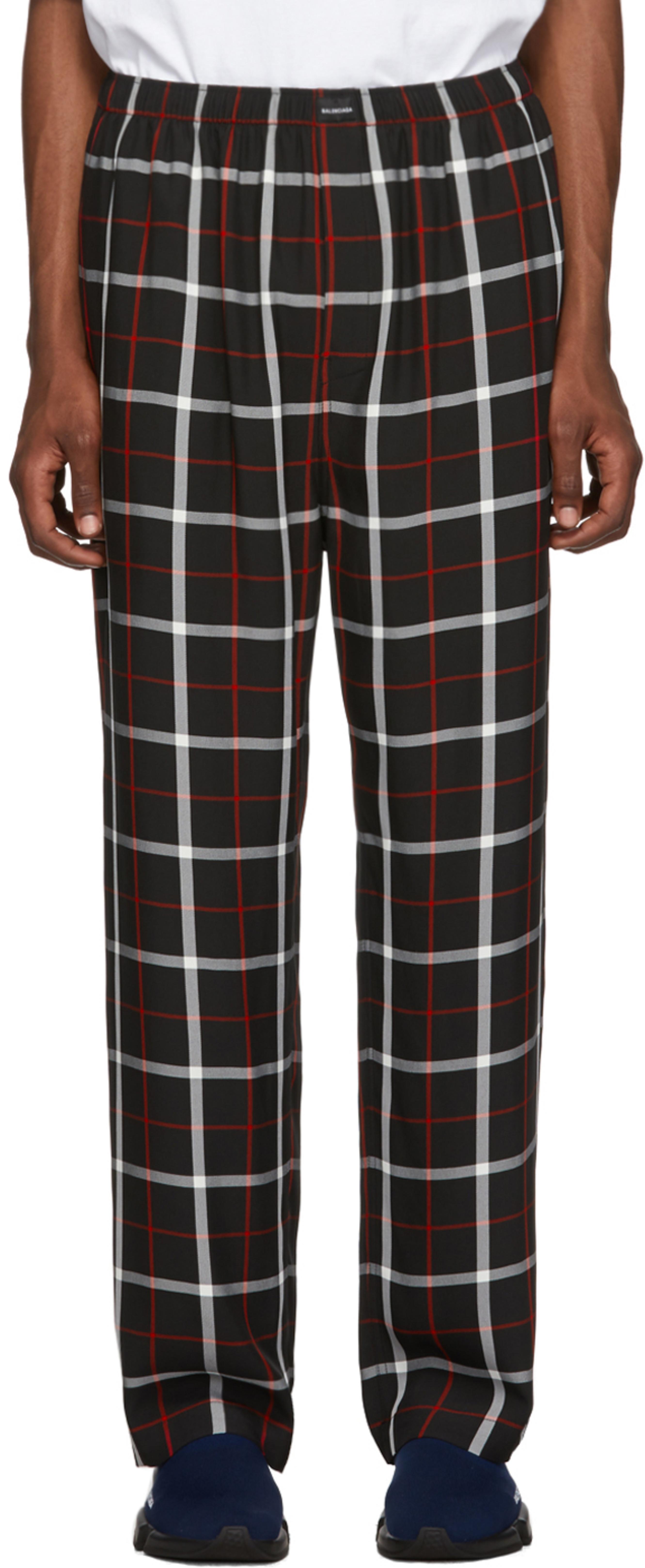 34093909959 Black & White Check Fluid Pyjama Trousers