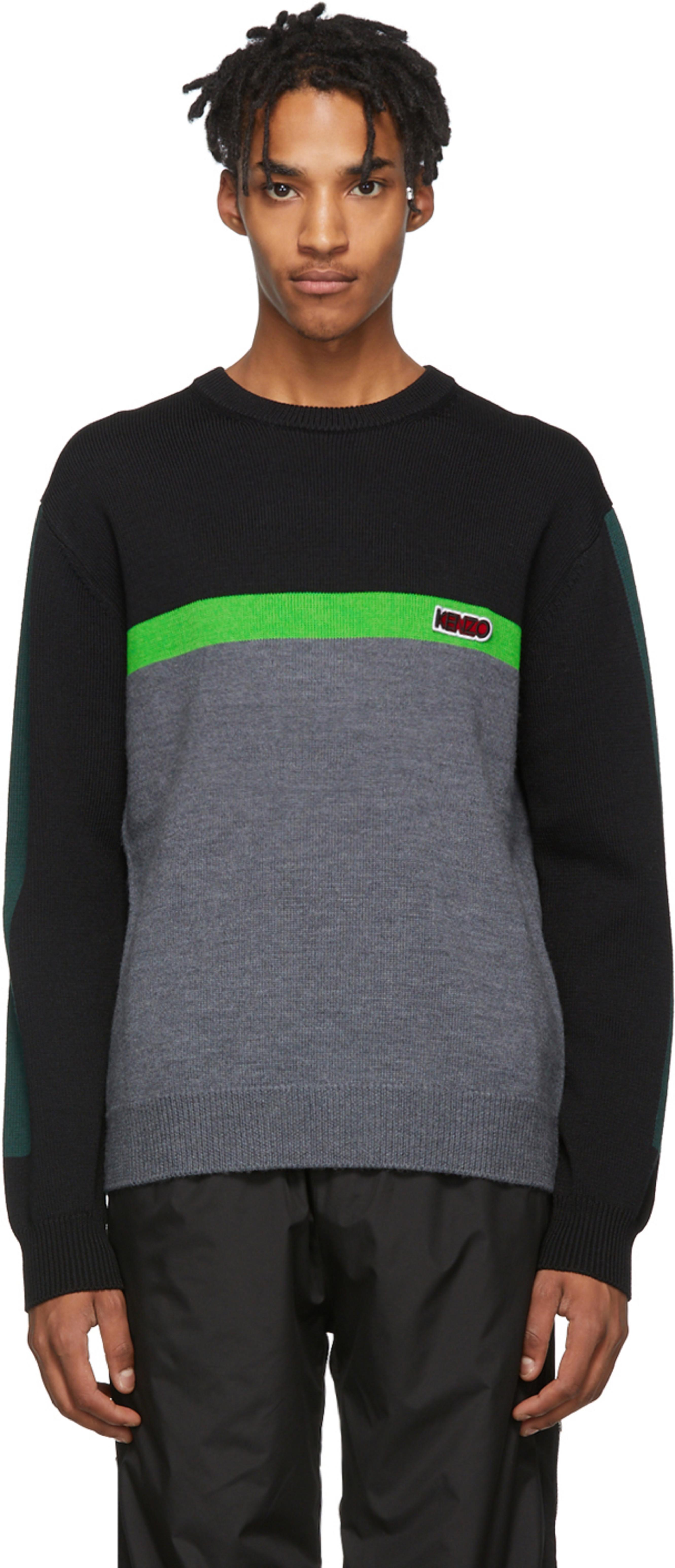 b593a8b5f2 Black & Green Colorblock Sweater