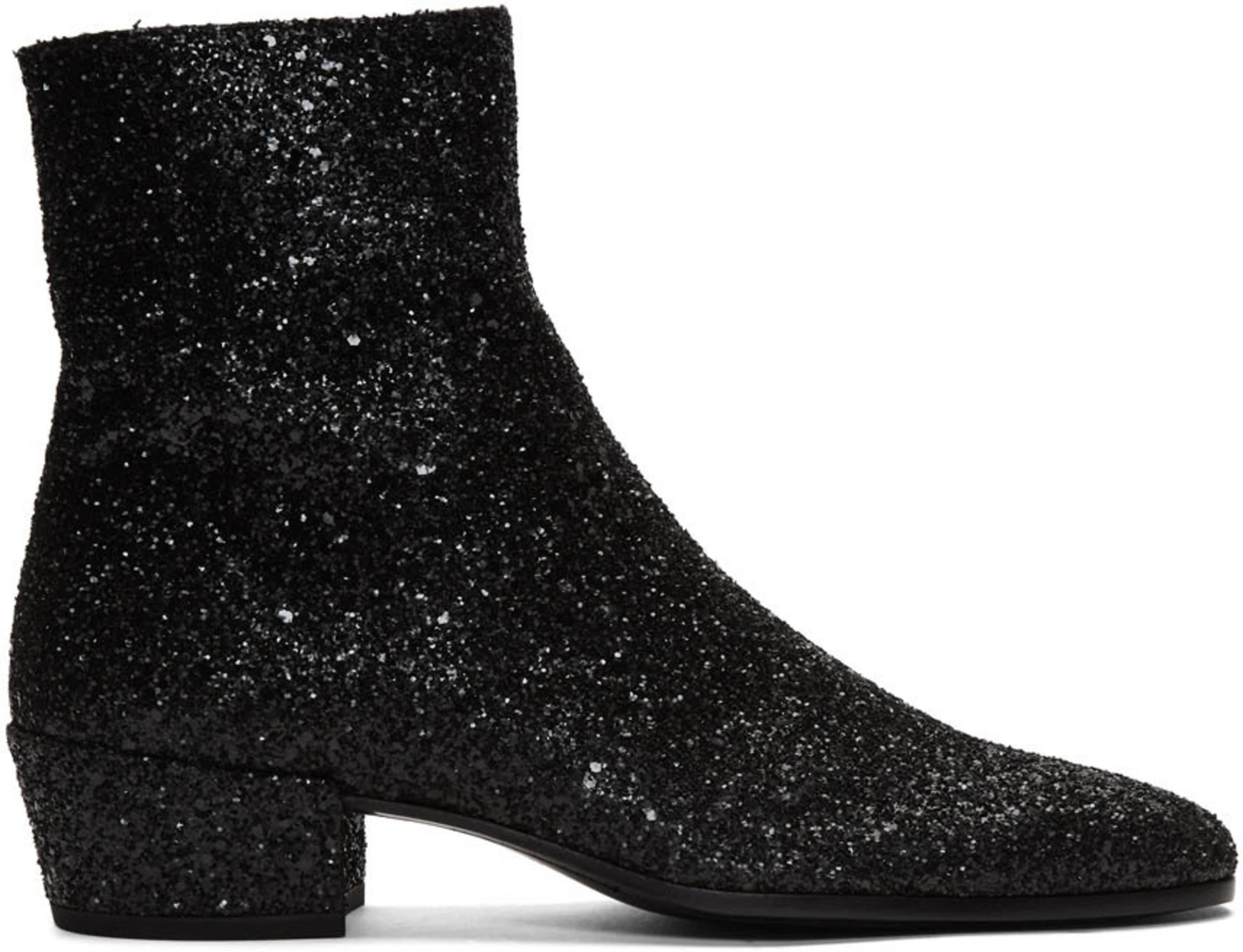 b56e12fb8ef Black Glitter Caleb Zippered Boots