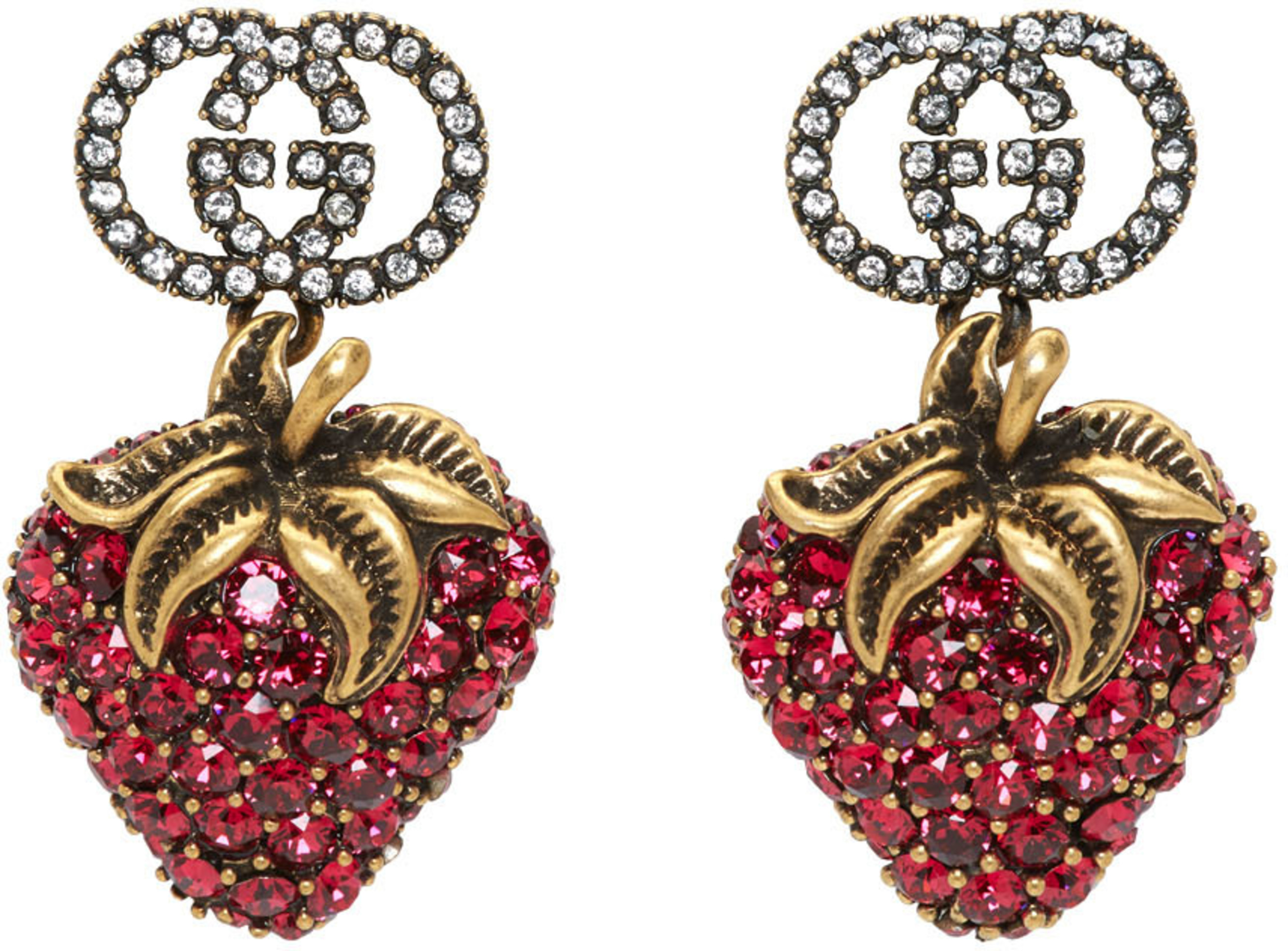 Red Crystal Strawberry Earrings