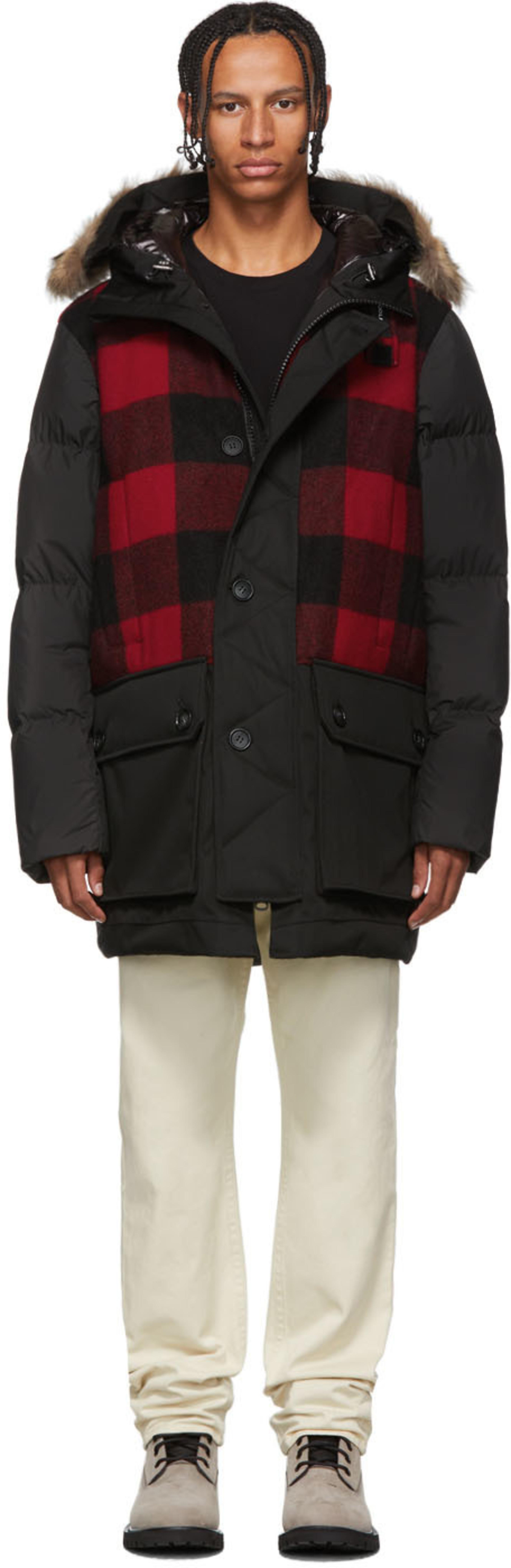 4897bb09e Black & Red Down Buffalo Wool Jacket
