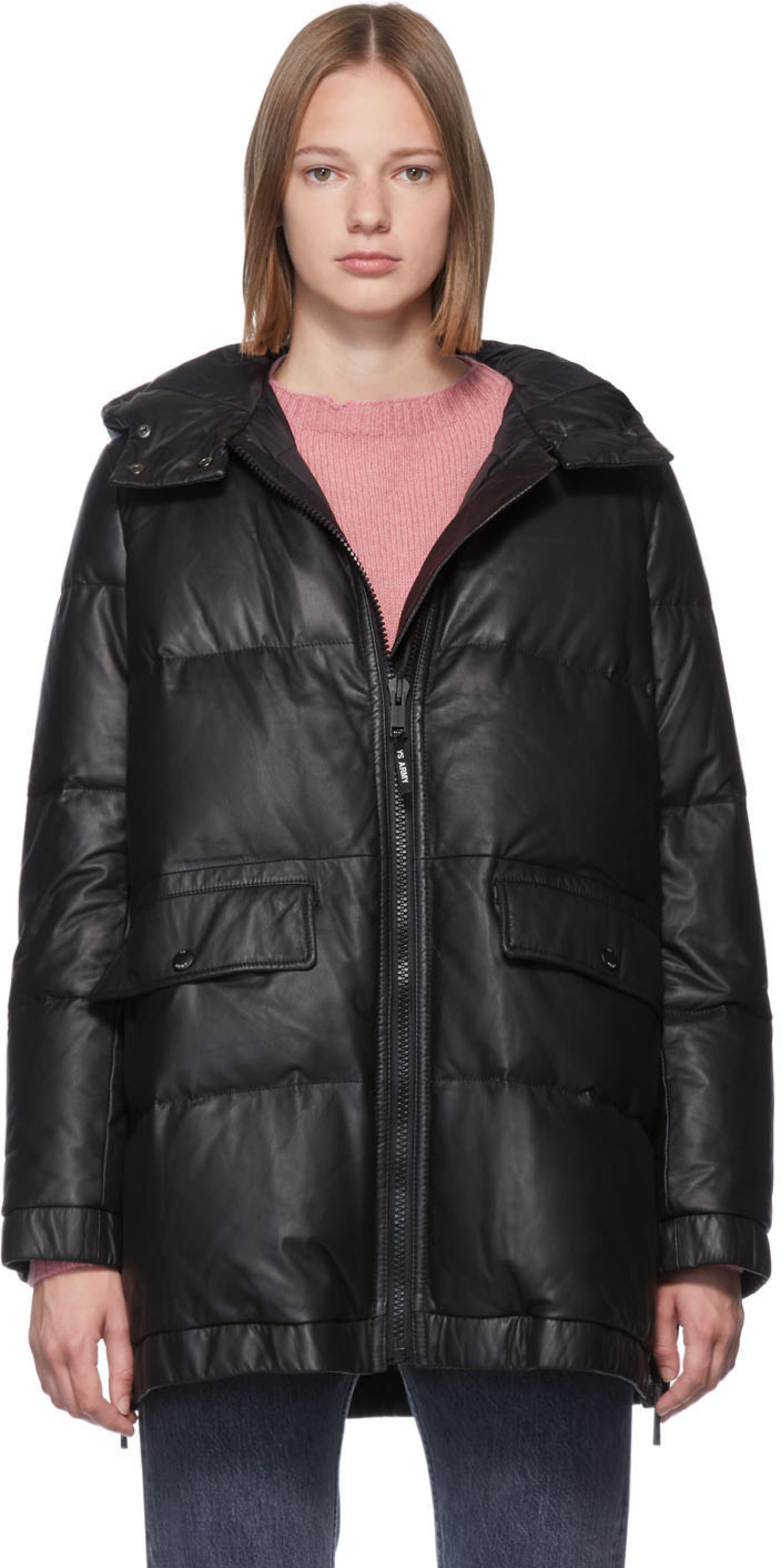 803db508 Black Down Leather Doudoune Jacket