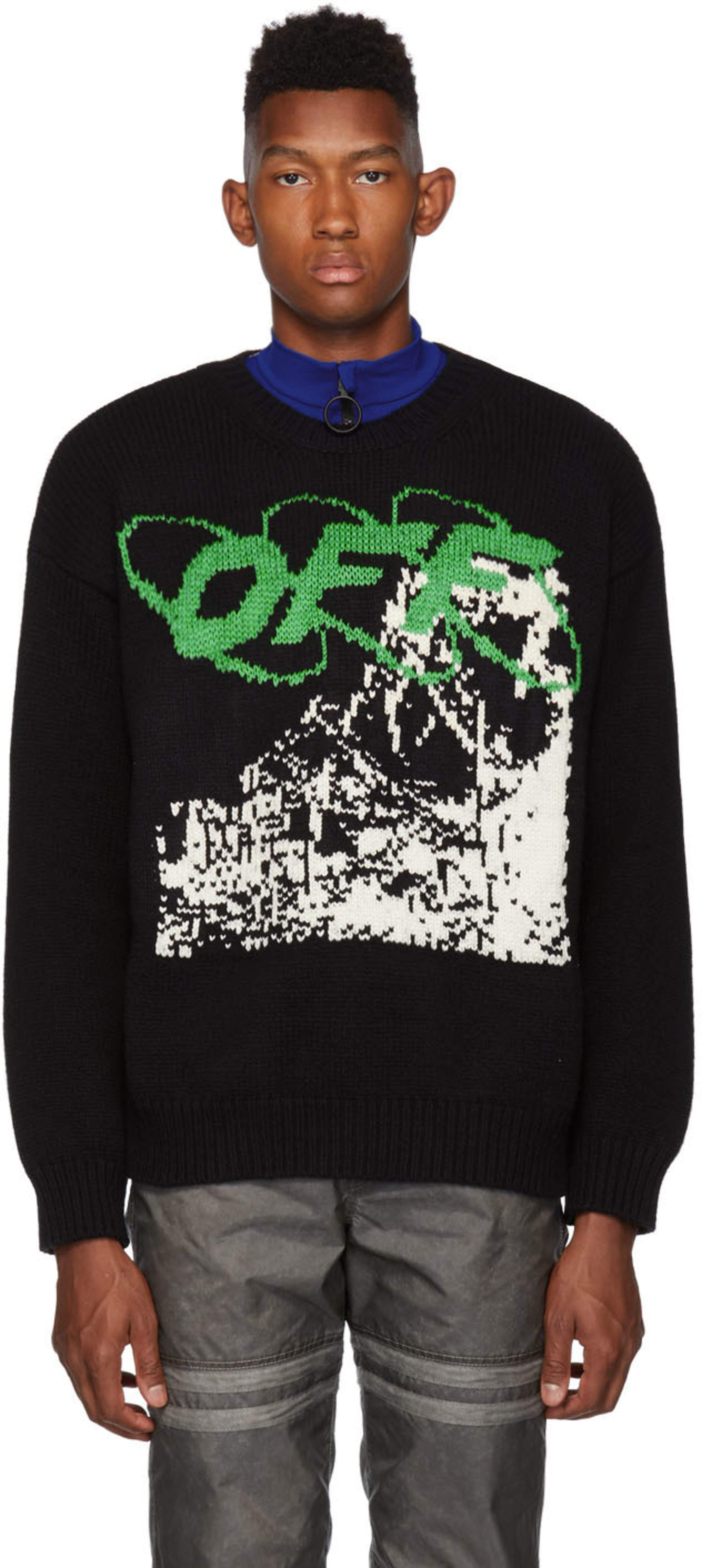 Black White Ruined Factory Sweater