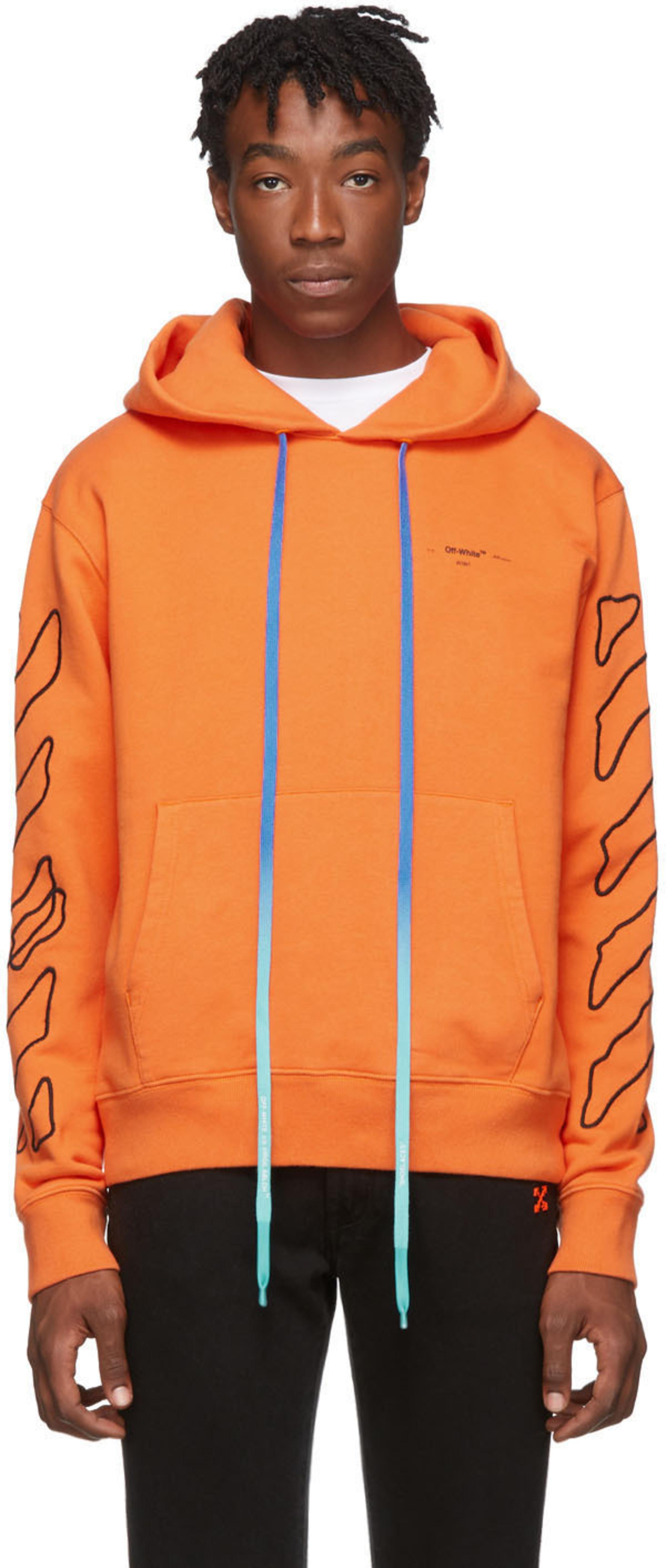 99c7f4545b Orange & Black Abstract Arrows Slim Hoodie
