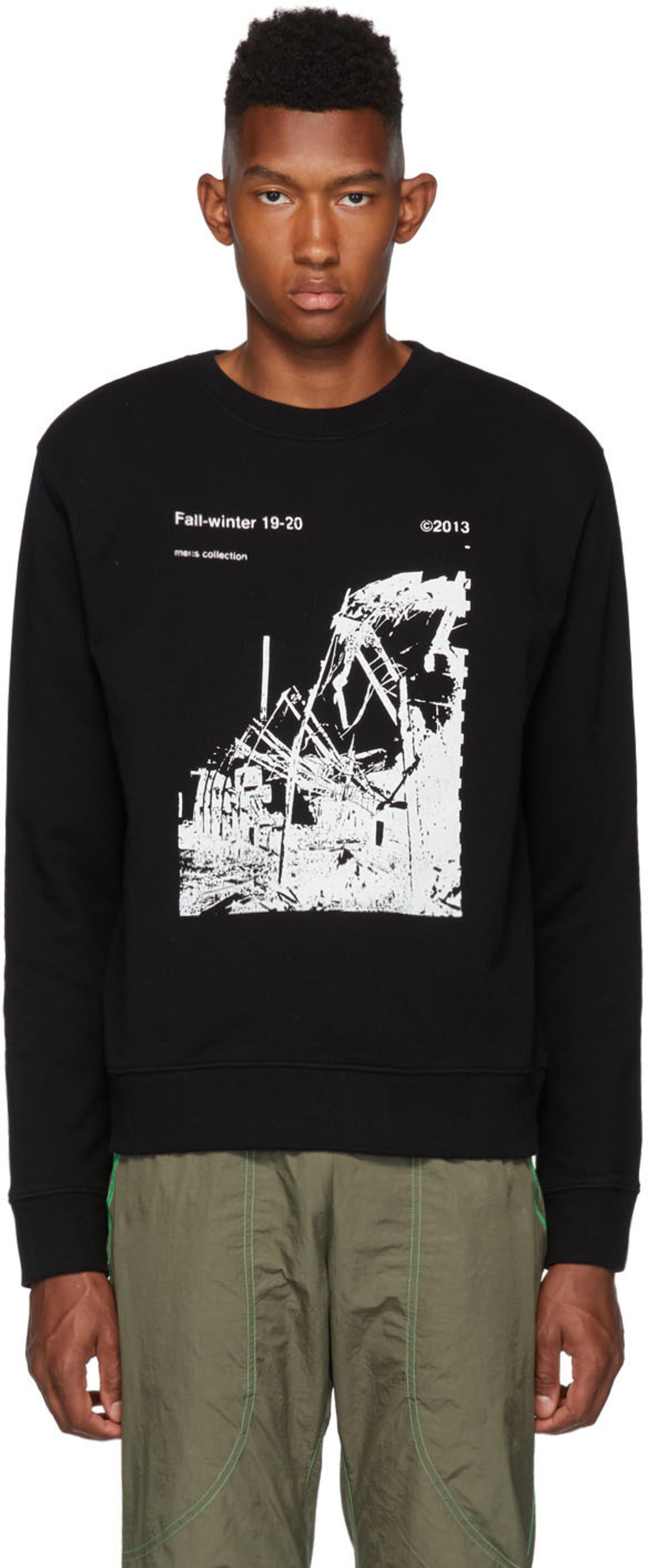 Black Slim Ruined Factory Sweatshirt
