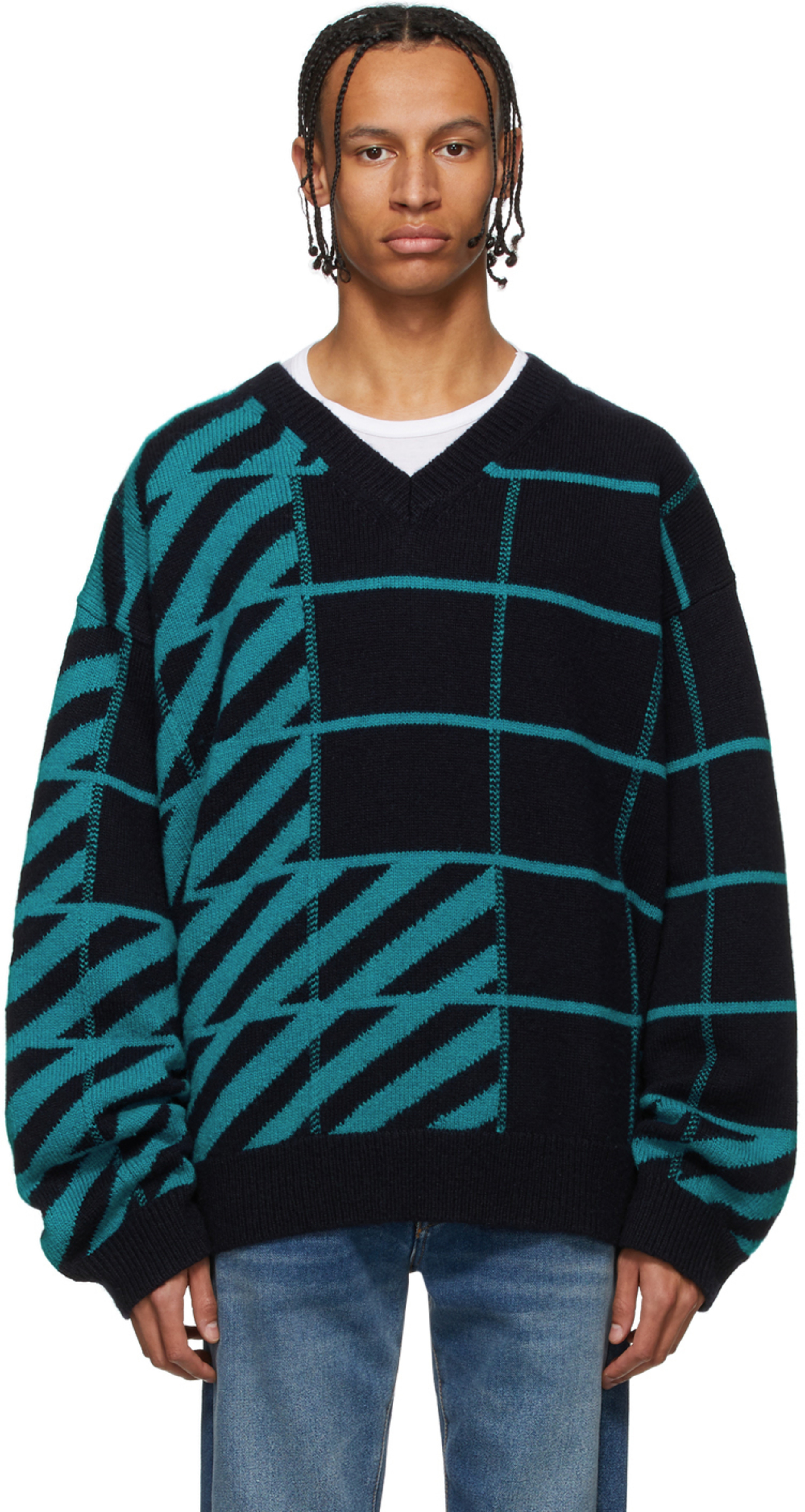 57801a96a4 Navy & Blue Diag Panel Sweater