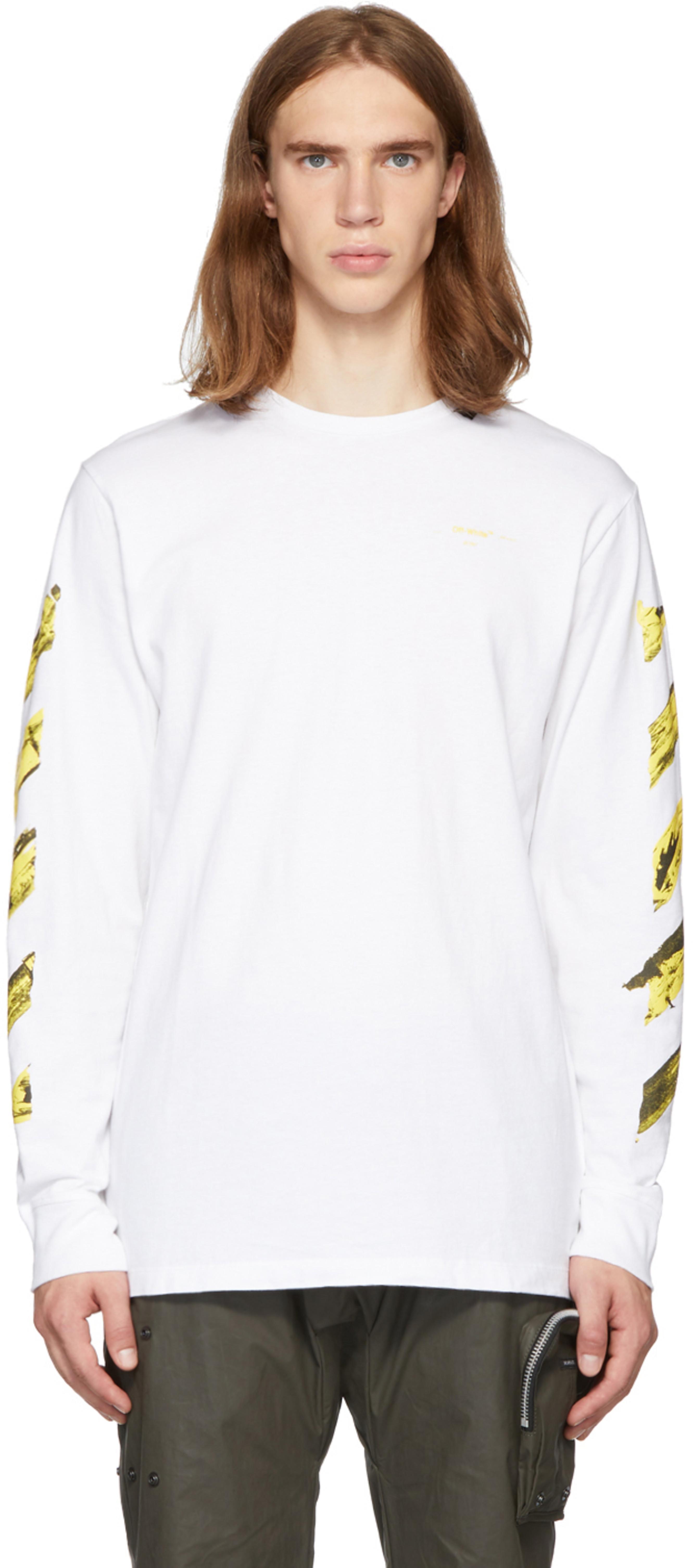 f29bb0503a SSENSE Exclusive White & Yellow Acrylic Arrows Long Sleeve T-Shirt