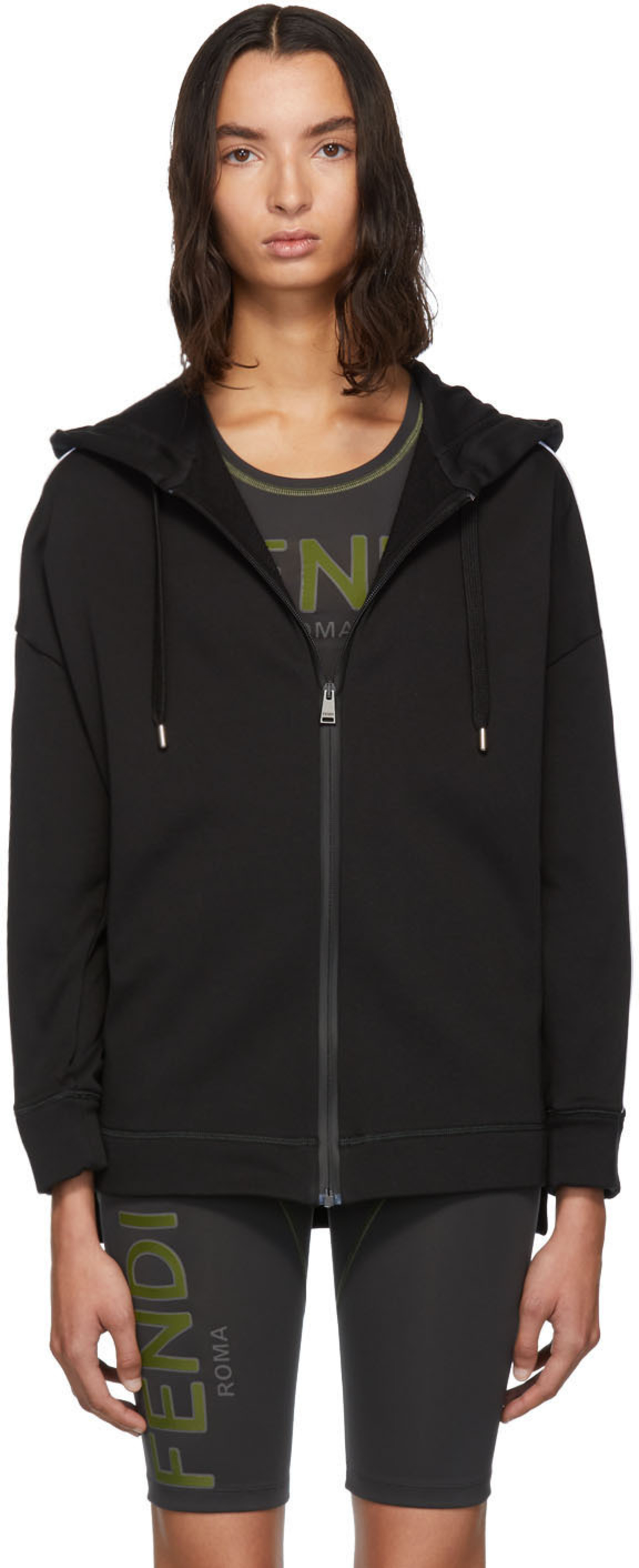 e98e2bfc Black Logo Zip-Up Hoodie