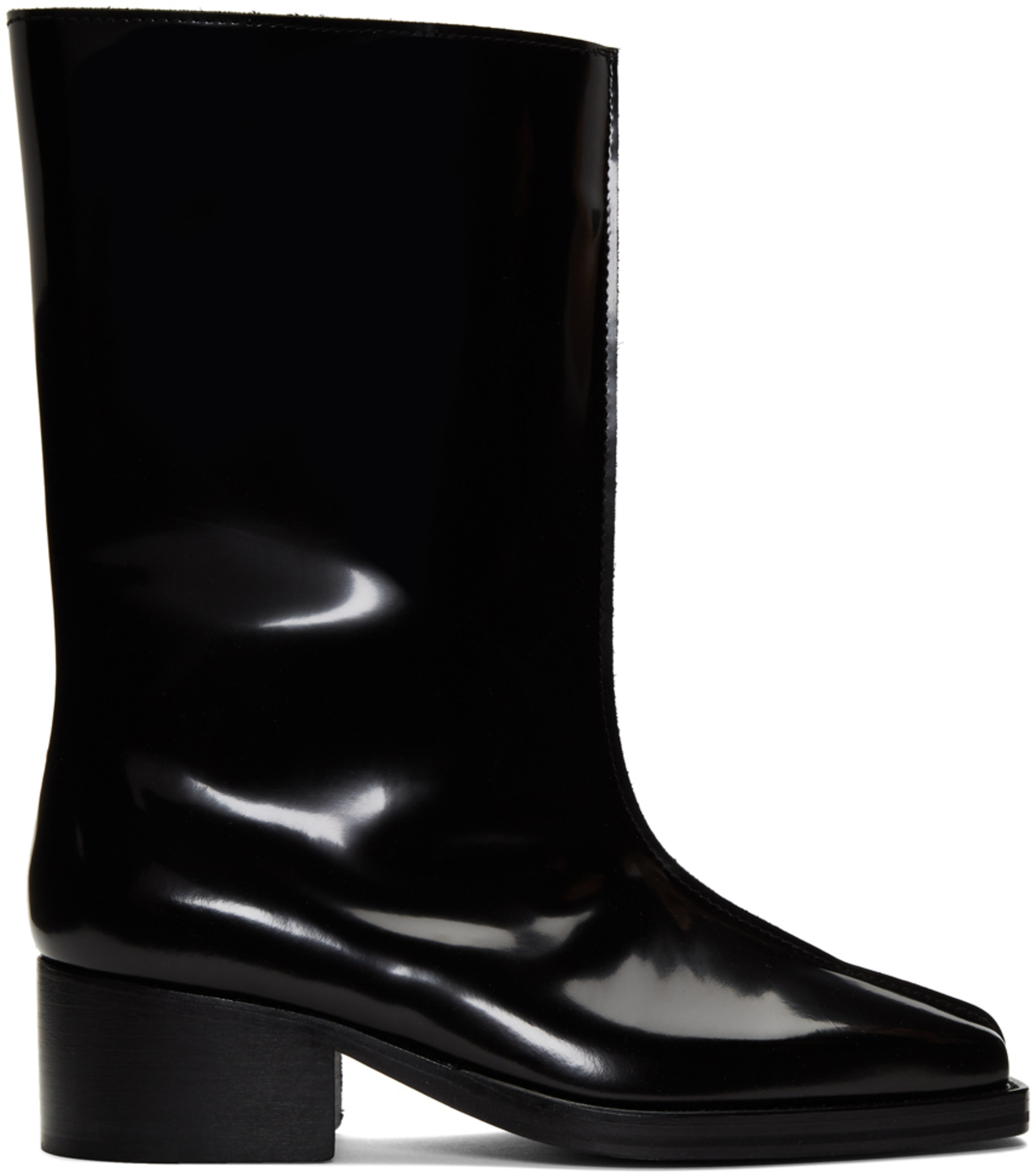 868bf986ce3 Black Patent Low Tubular Boots