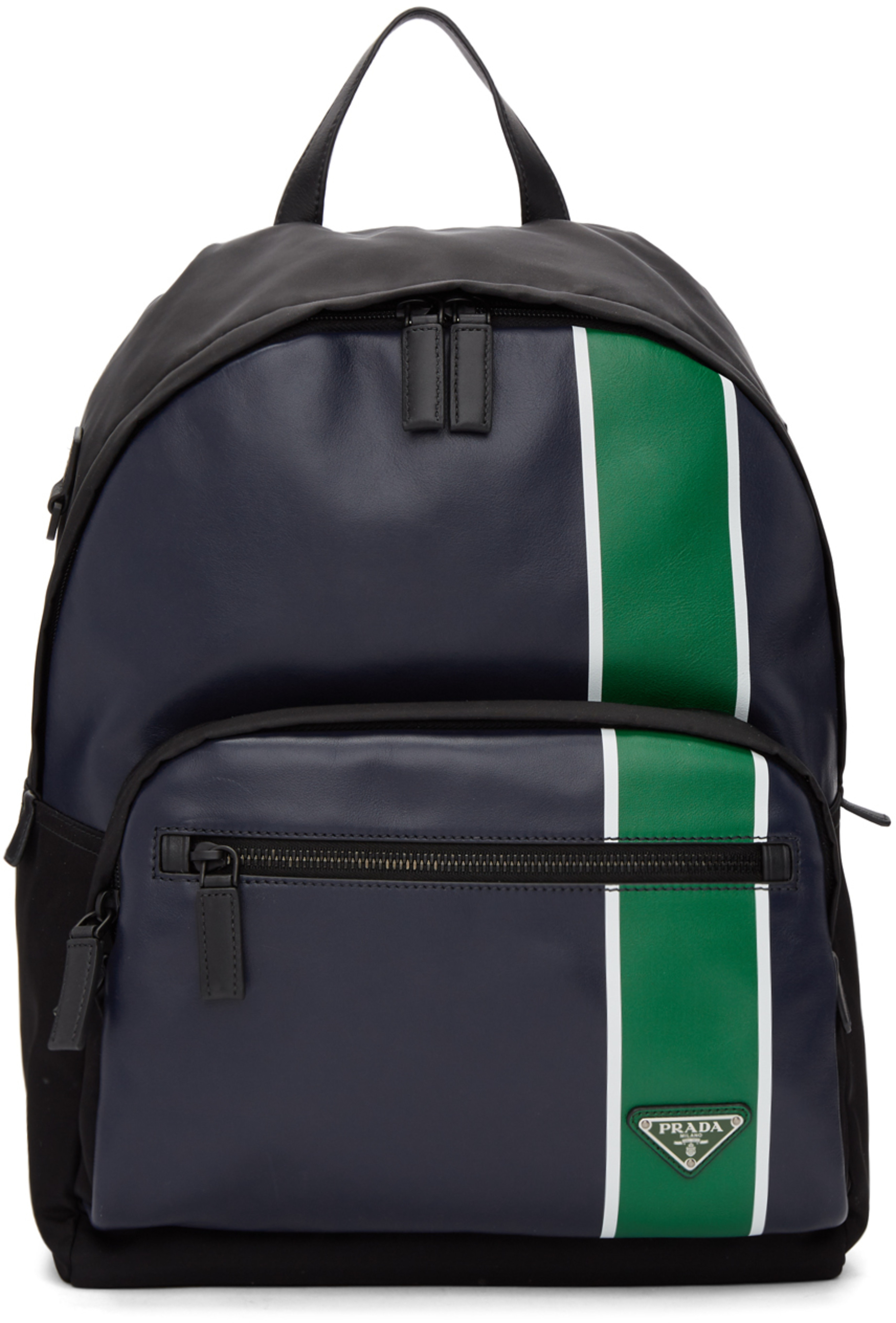 21a5e6be90a8 Navy & Green Leather Backpack