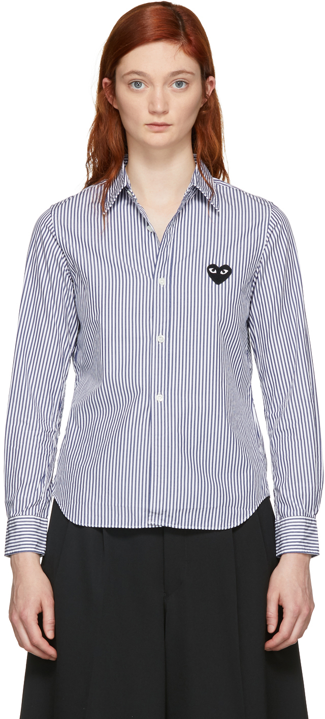 Blue & White Striped Heart Patch Shirt
