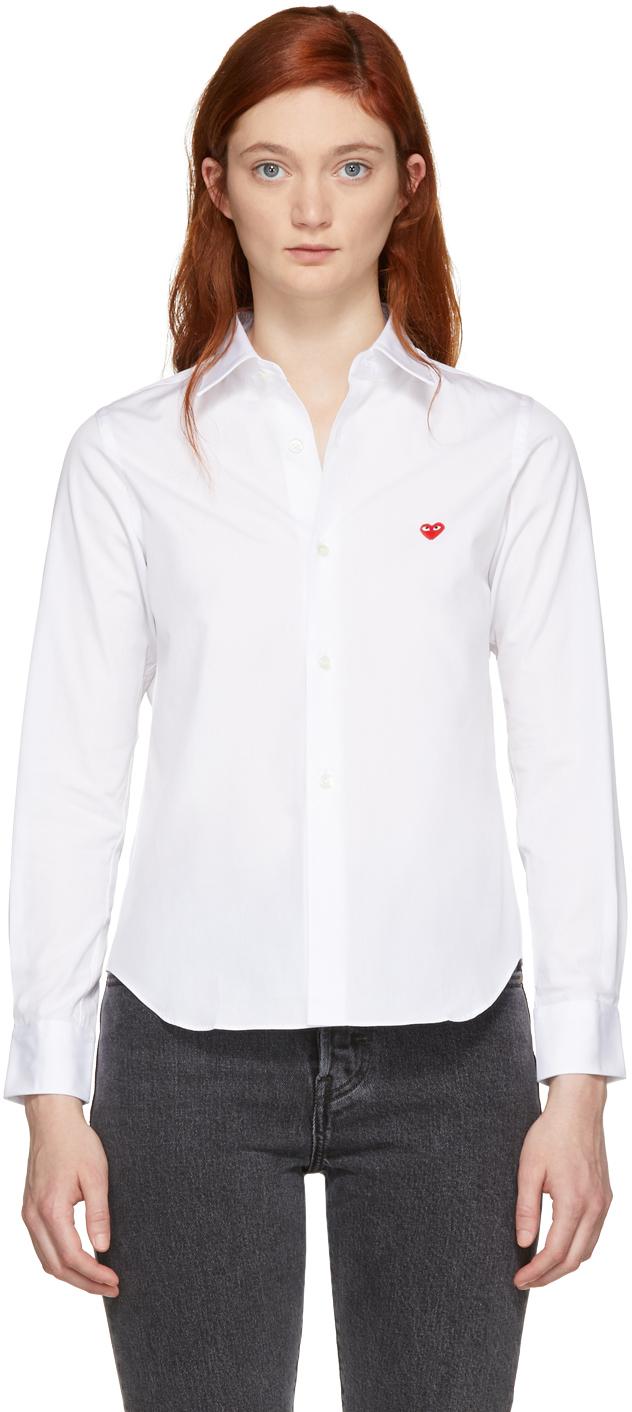 ホワイト スモール ハート シャツ