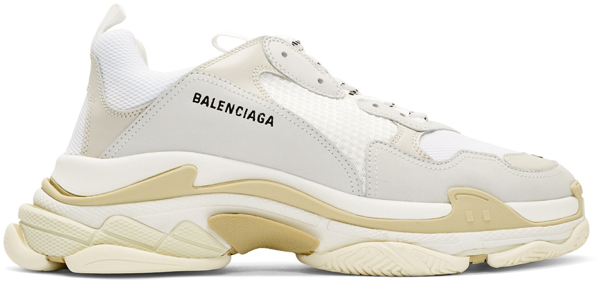 Balenciaga: White Triple S Sneakers