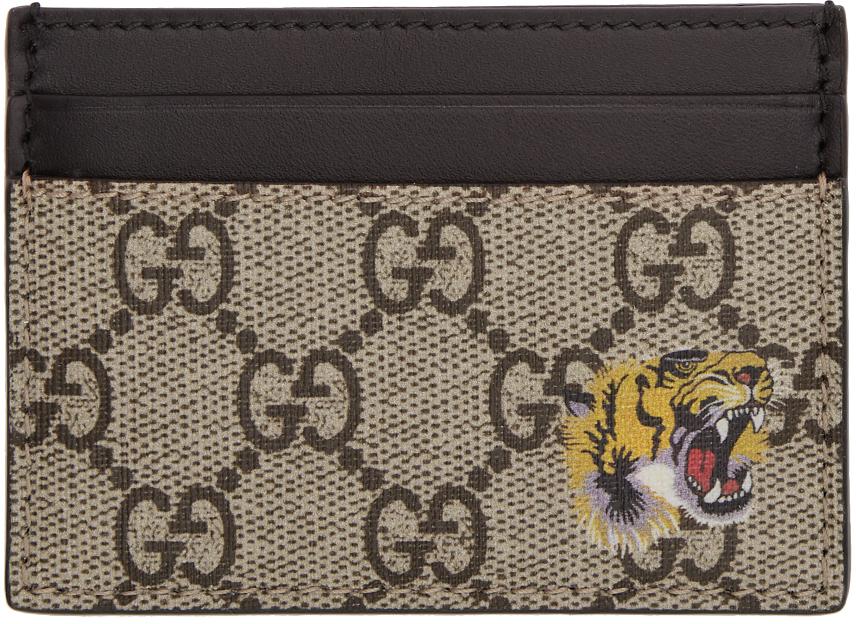 Beige GG Supreme Tiger Card Holder