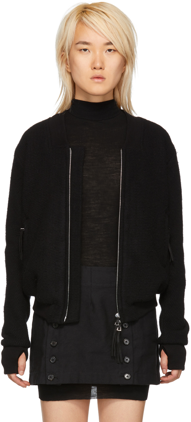 Black Wool & Cashmere Bomber Jacket
