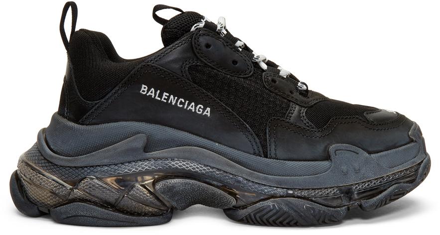 Black Triple S Clear Sole Sneakers by