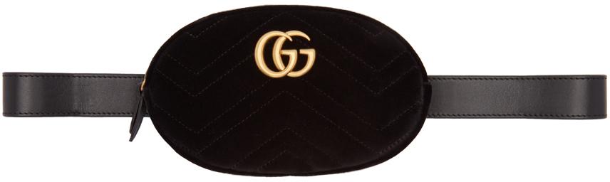 Gucci 黑色 GG Marmont 2.0 天鹅绒腰包