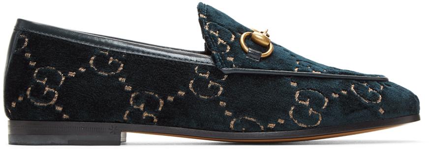 Gucci 蓝色 GG New Jordaan 天鹅绒乐福鞋