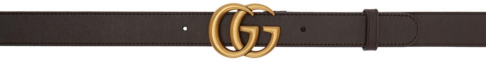 Gucci 棕色 GG 皮革腰带