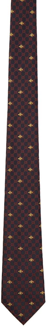 Gucci 海军蓝 GG 蜜蜂丝绸领带
