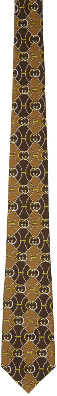 Gucci 驼色 & 棕色互扣式 G 菱形图案真丝领带
