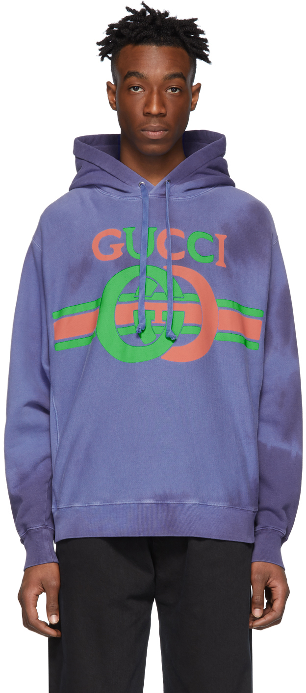 classic fit good out x cheap prices Gucci: Blue Logo Hoodie | SSENSE