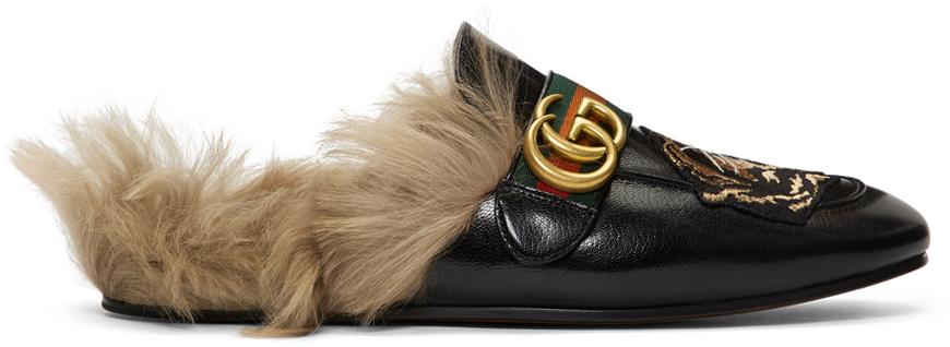 Gucci 黑色 New Princetown 虎头乐福鞋