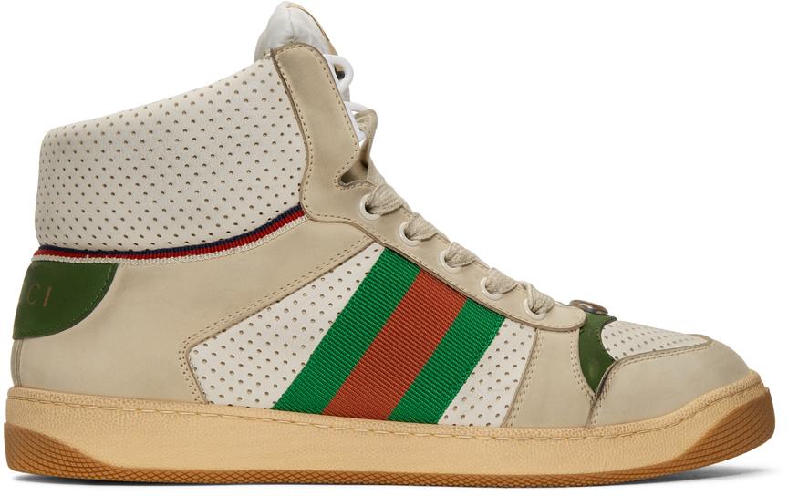 Gucci: White Screener High-Top Sneakers