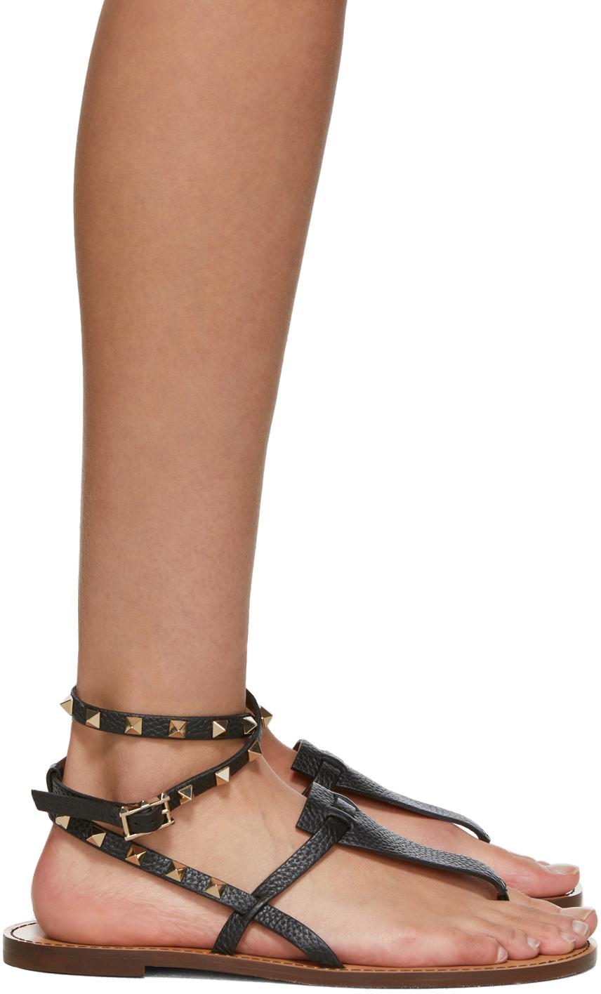 Valentino Garavani 黑色 Rockstud 踝带凉鞋