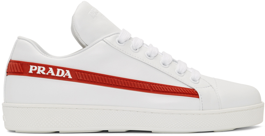 White 'Red Band' Sneakers by Prada on Sale