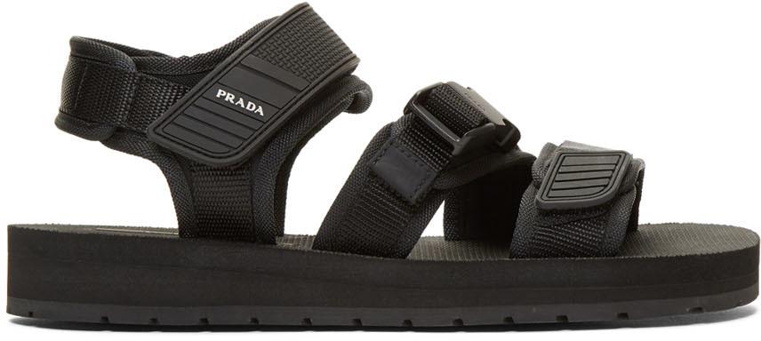 Black Tech Sandals by Prada on Sale