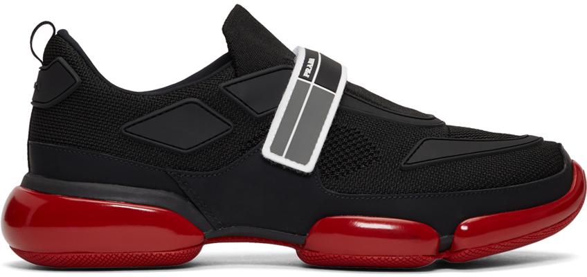 Black \u0026 Red Cloudbust Sneakers by Prada