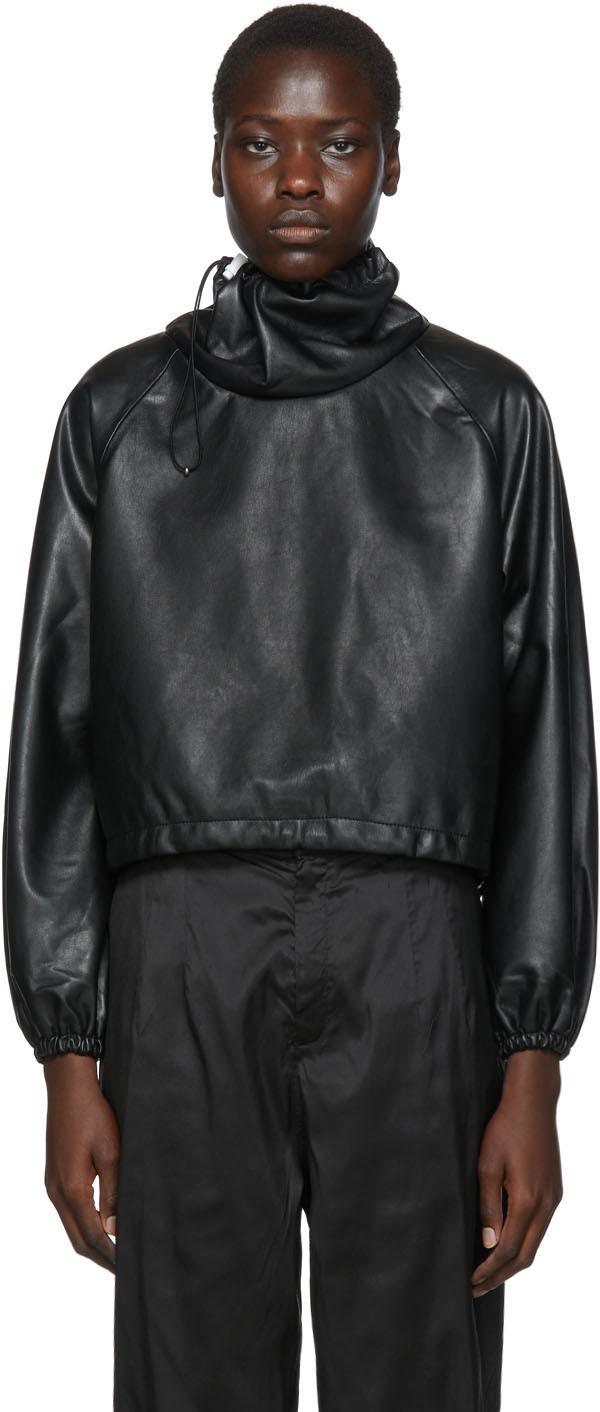 Black Vegan Leather Big Neck Turtleneck
