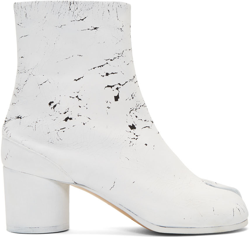 special section super quality best value Maison Margiela: SSENSE UK Exclusive Black 'White-Out' Tabi Boots ...