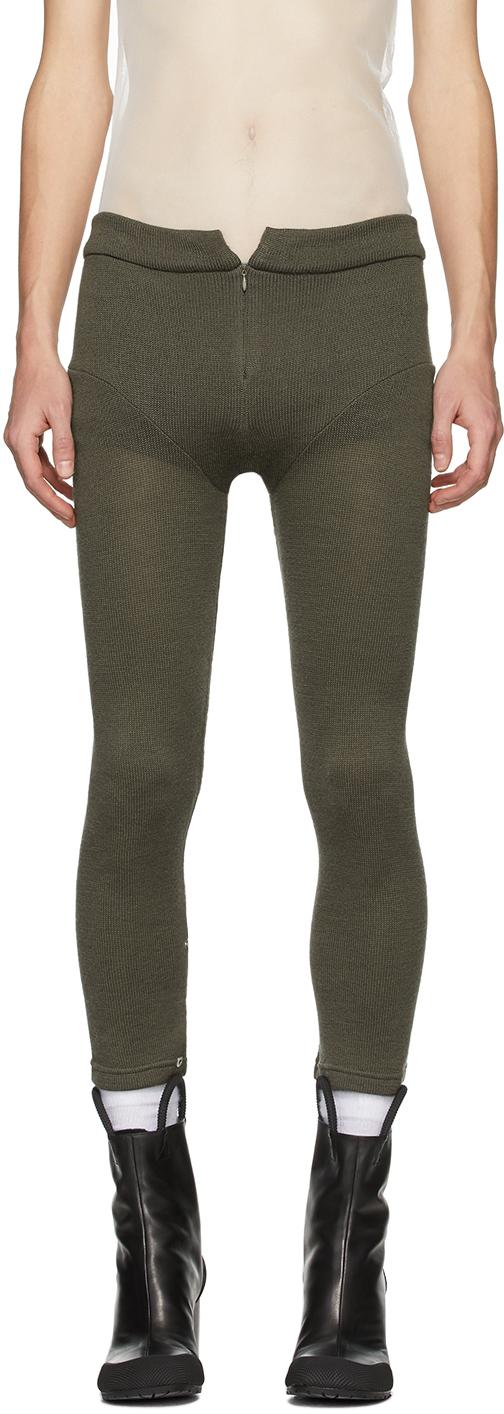 Random Identities 灰褐色拉链羊毛长裤