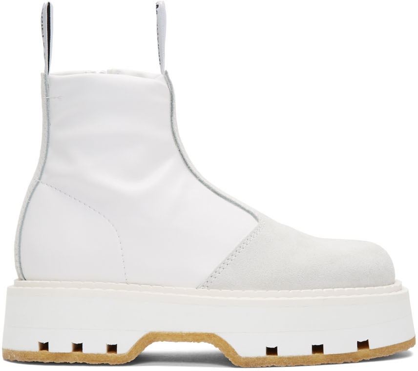 White Pull On Ankle Boots by MM6 Maison