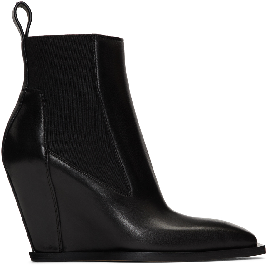 Black Leather Sharp Wedge Boot by Rick