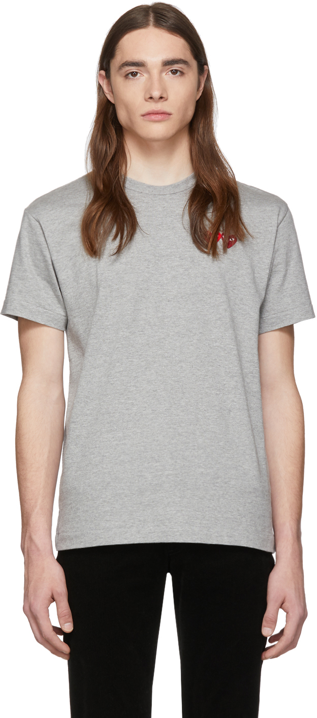 Grey & Red Double Hearts T-Shirt