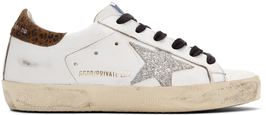 Golden Goose SSENSE Exclusive White Leopard Superstar Sneakers