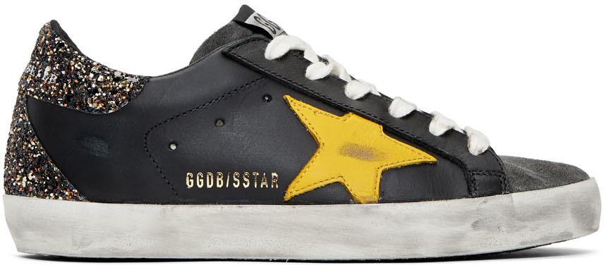 Golden Goose Black & Yellow Glitter Superstar Sneakers