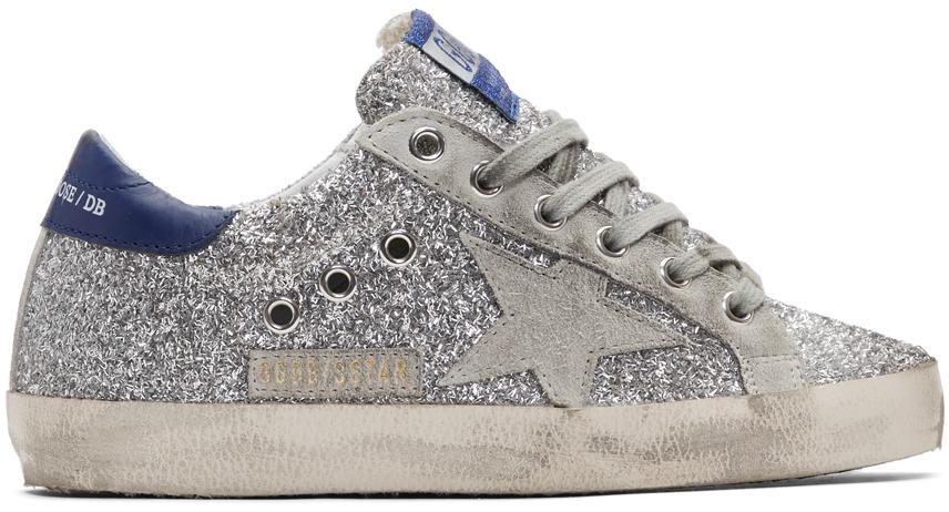 Golden Goose Silver & Grey Superstar Sneakers