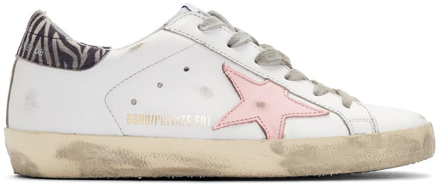 Golden Goose SSENSE Exclusive White Zebra Superstar Sneakers