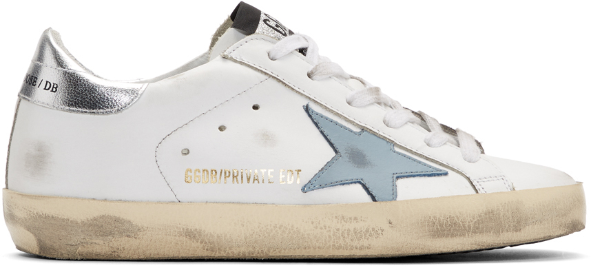 Golden Goose SSENSE Exclusive White & Blue Superstar Sneakers