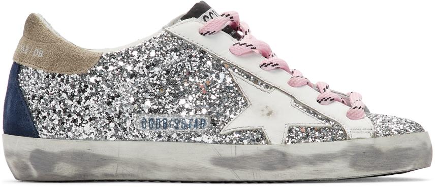 Golden Goose Silver & White Glitter Superstar Sneakers