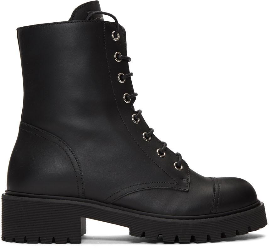 Giuseppe Zanotti 黑色皮革军靴