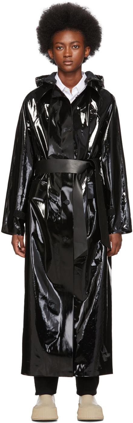 Black Long Lacquer Coat