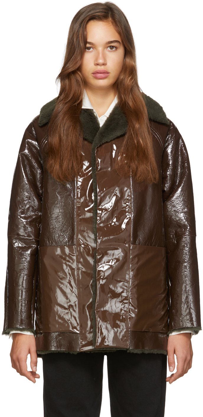 Reversible Brown Lacquer Sheepskin Coat