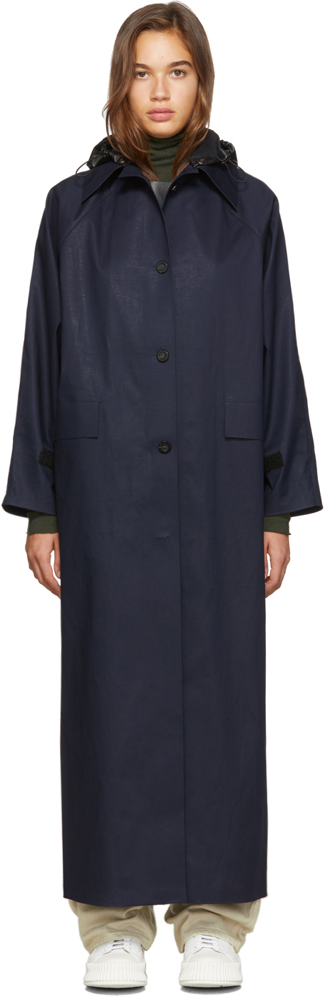SSENSE Exclusive Navy Canvas Trench Coat
