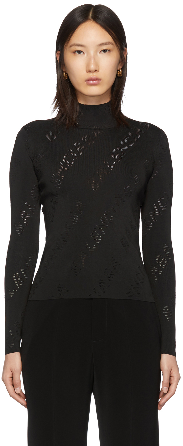 Balenciaga 黑色穿孔徽标高领针织衫